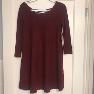 Burgundy 3/4 Sleeve Sweater Dress